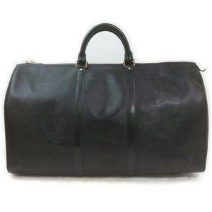 Louis Vuitton Black Epi Leather Keepall 50 Duffle